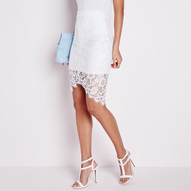 Missguided Lace Curve Midi Skirt