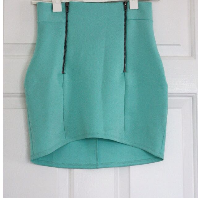 Nasty Gal Teal Double-Zippered Bodycon Skirt