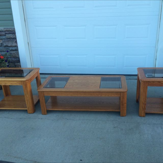 Oak Coffee Table Set
