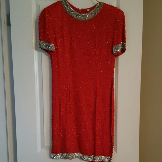 Silk Sequin Red Dress