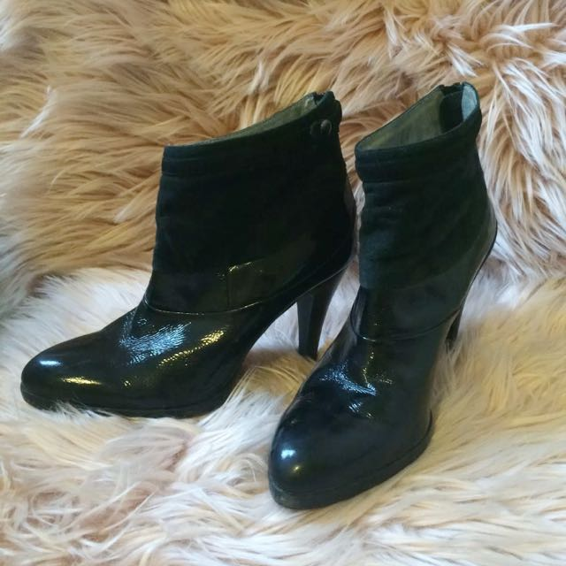 Size 7 Patent And Suede Boots