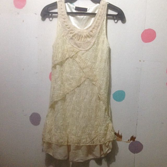 Sleeveless Off White Cream Lace Long Top / Mini Dress