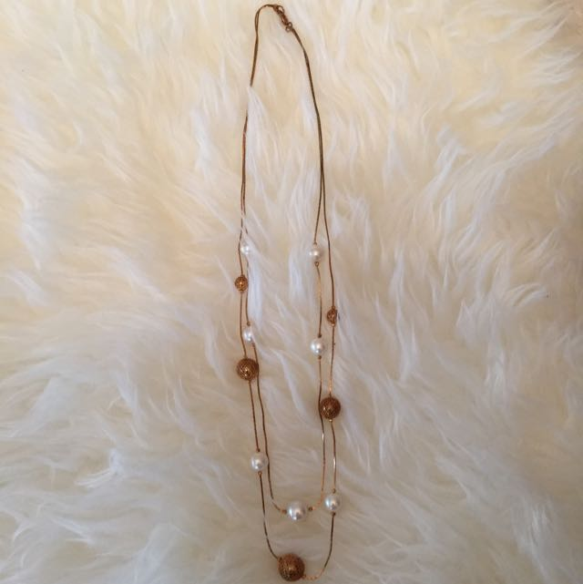 Two String Pearl And Gold Bead Necklace