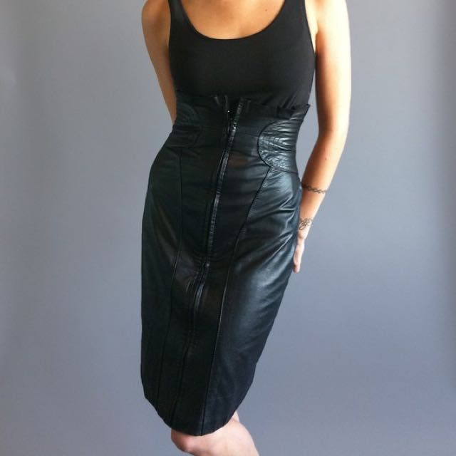 50%off Vintage 80s Black Leather Pencil Skirt XXS XS 1980's 1990's 90s