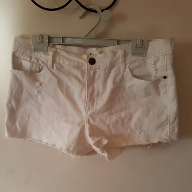 White Hipster Denim Shorts