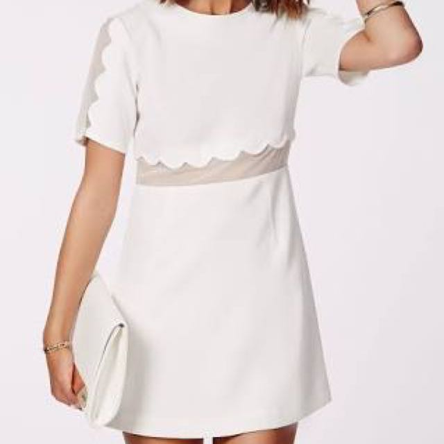 White Scallop Detail Misguided Dress