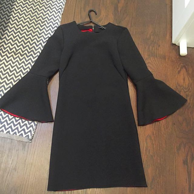 Zara Black Dress With Bell Sleeves