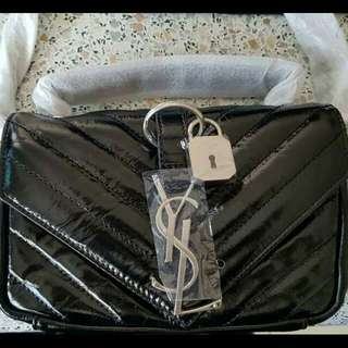 YSL Saint Laurent V-Flap Patent Leather Mini Shoulder Chain Bag, Made in Italy