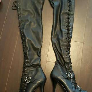 Guess Over The Knee Lace Up Boots