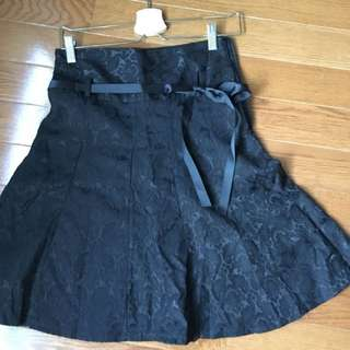 Black Lace Aline Skirt With Ribbon