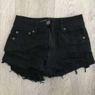 American Eagle Black Ripped Short Shorts