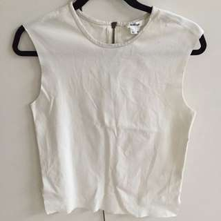 Helmut Lang White Top With Leather Trim Size M