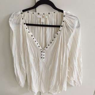 Amuse Society White Boho Blouse Size 8/Small