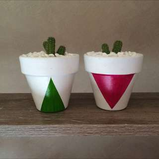 Handpainted Pots With Cactus