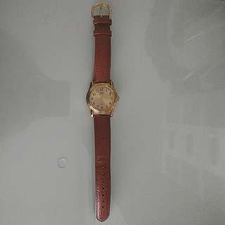 Casio Brown Leather Quartz Watch with Gold Dial