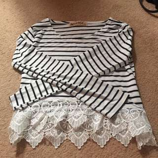 Reverse Striped Lace Crop