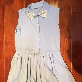 換季 全新商品清倉:雪紡水藍洋裝