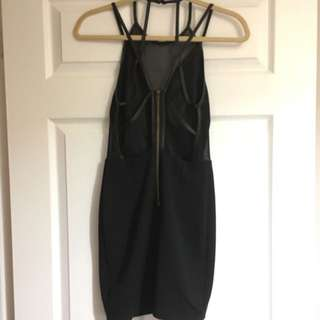 Black Mesh Plunge Backless Dress Size Small