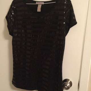Prestige Sequinned T-shirt Black