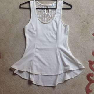 White Valley girl Lace-back Top SIZE M