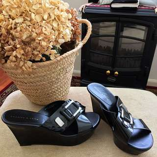 (new) Charles Keith Black Patent Wedge Sandals (size 37)