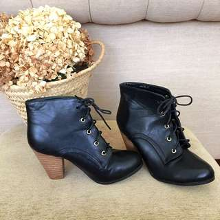 Freelance Black Heeled Boots (size 37)