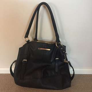 Basic Black Colette Handbag w/ Gold Detailing