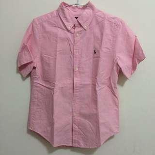 Ralph Lauren Polo男童彩色小馬刺繡粉紅素色牛津短袖襯衫 M