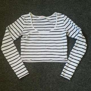 Black White Striped Long Sleeve Cropped Shirt XS Size