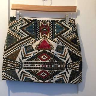 Patterned Embroidered Skirt