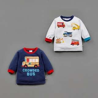 🚚 可愛寶寶汽車印花長袖上衣