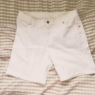 降價 MUJI 無印良品 白色可反折短褲 近全新 67腰 只穿2次