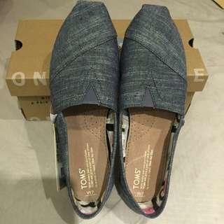 TOMS 牛仔藍 經典帆布懶人鞋-女款(牛仔藍)