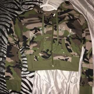 Camo Crop Top Sweater