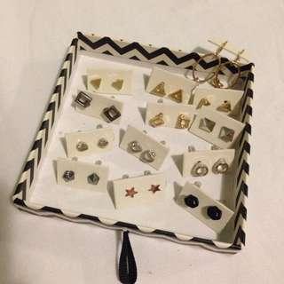 Assorted Earrings Studs Triangle Heart Love Shape Geometric