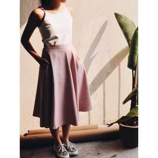 Lana Midi Skirt With Pockets (Dusty Pink)