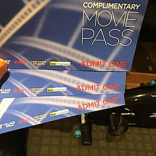 Can be used in Village cinemas,event cinemas, Greater union -  3 Tickets