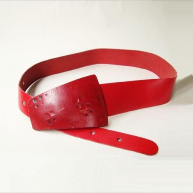 1980s Vintage Cranberry Leather Buckle Belt Sz S to XL