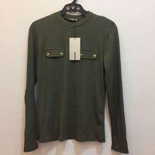 Zara longsleeve top Moss green