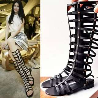 [PO ZH00] Caged Cut Out Gladiator High Cut Sandals Boots