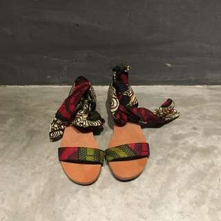 Sustainably Made African Print Lace Up Sandals