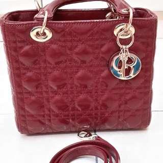 1:1 Lady Dior Medium Size In Maroon