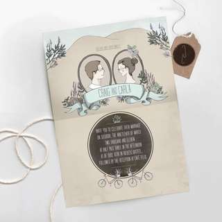 Wedding Card Design (Cartoon Illustration And Calligraphy)