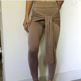 Tan Leggings With Tie Up Front
