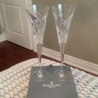 Waterford Palm Tree Champagne Flute Glasses