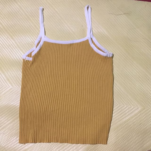 細肩帶螺紋黃色背心