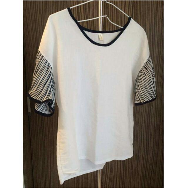韓國 韓版純色條紋短袖棉麻衫