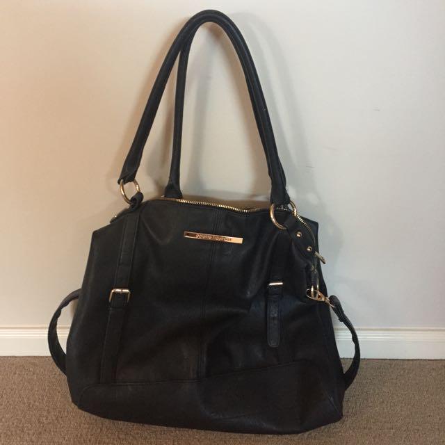 Basic Black Colette Handbag w/ Gold Detailing