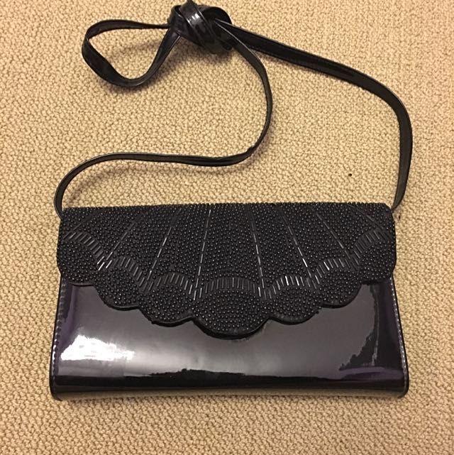 *reduced* Beaded Black Shoulder Bag