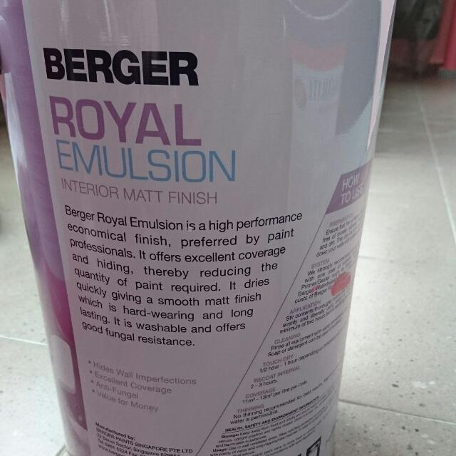BERGER Royal Emulsion Wall Paint, Furniture on Carousell